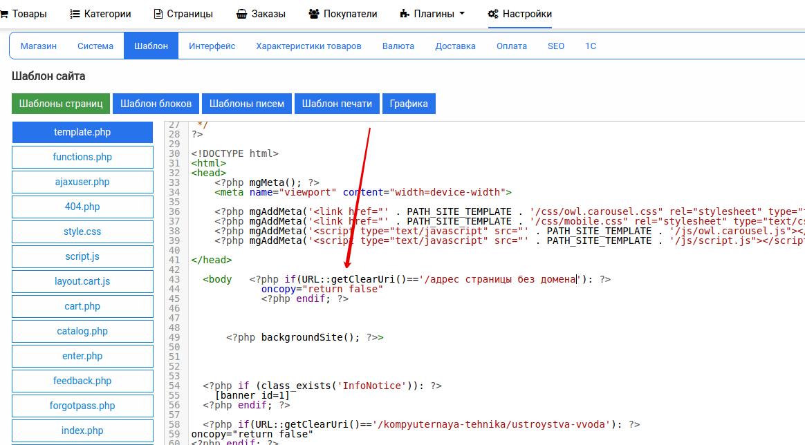 защита контента сайта от копирования на определённой странице шаблона moguta