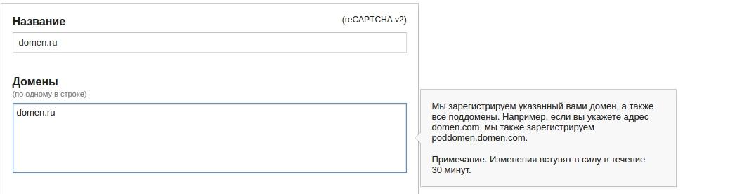 регистрируем домены для установки recaptcha на сайт