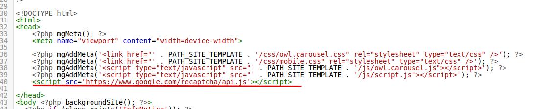 вставляем фрагменты recaptcha в код